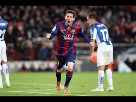Messi celebrando el gol del empate ante el Espanyol