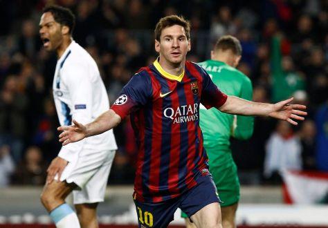 Messi celebra el gol del empate ante el PSG