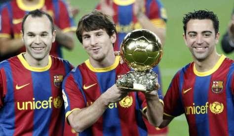 Messi, Iniesta y Xavi. La imagen del Barça. El podio del Balón de Oro en el 2011. FOTO | www.20minutos.es