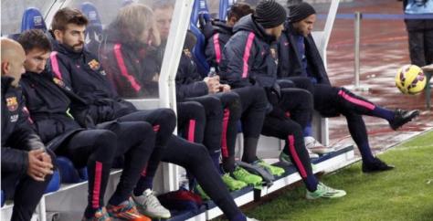 El banquillo del Barça en Anoeta