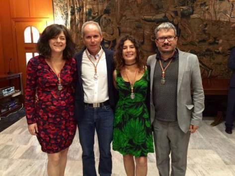 Vicky López en el pleno de investidura junto a sus compañeros de Ganemos Rafa Blázquez, Alberto de los Ríos y Mª Ángeles Aguilera