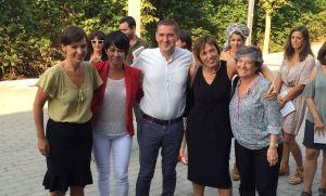 Los candidatos de EH Bildu para las elecciones vascas del próximo 25 de septiembre. De izquierda a derecha (Jasone Agirre, Maddalen Iriarte, Arnaldo Otegi, Miren Larrion y Laura Mintegi)